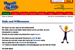 Screenshot der Webseite; Bild: Universität Oldenburg